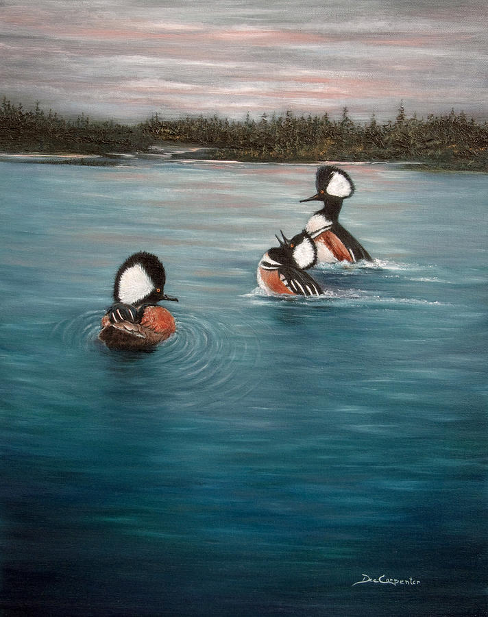 Hooded Merganser Painting - The Actors by Dee Carpenter