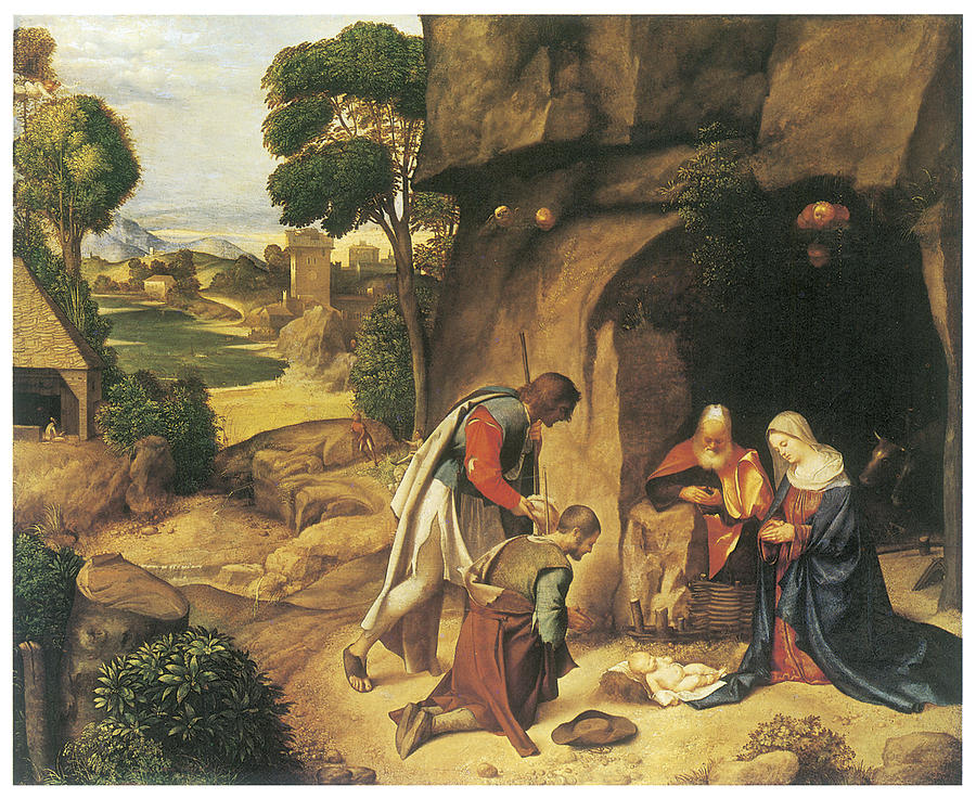 the adoration of the shepherds painting by giorgione
