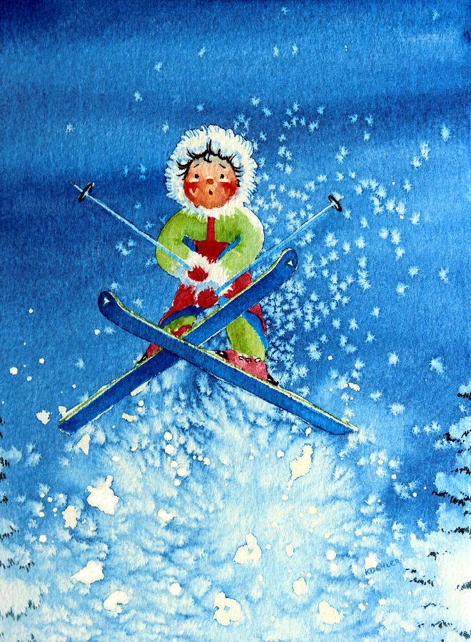 Fantasy Illustration Painting - The Aerial Skier - 11 by Hanne Lore Koehler