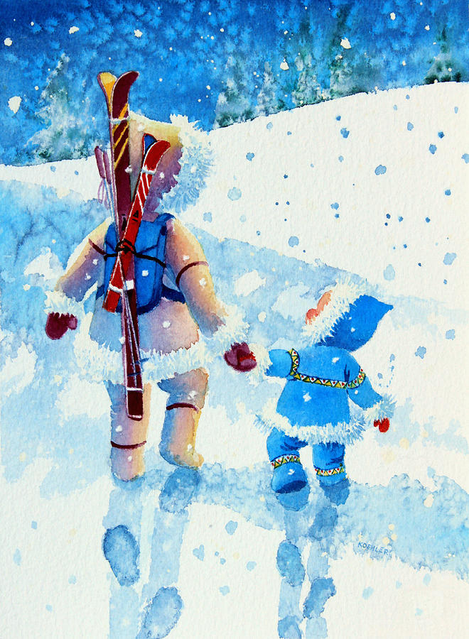 Picture Book Illustrator Painting - The Aerial Skier - 2 by Hanne Lore Koehler
