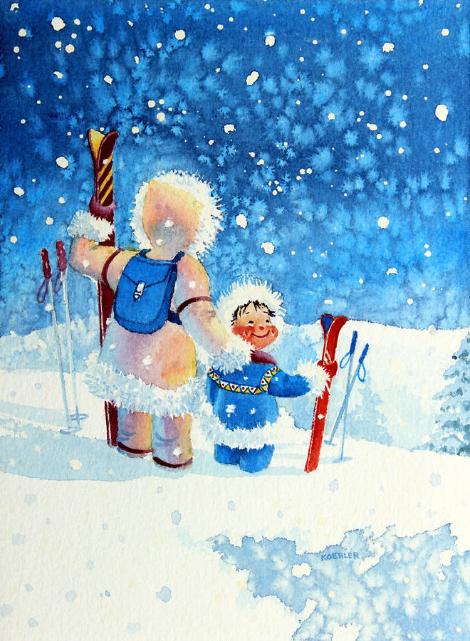 Picture Book Illustrator Painting - The Aerial Skier - 4 by Hanne Lore Koehler