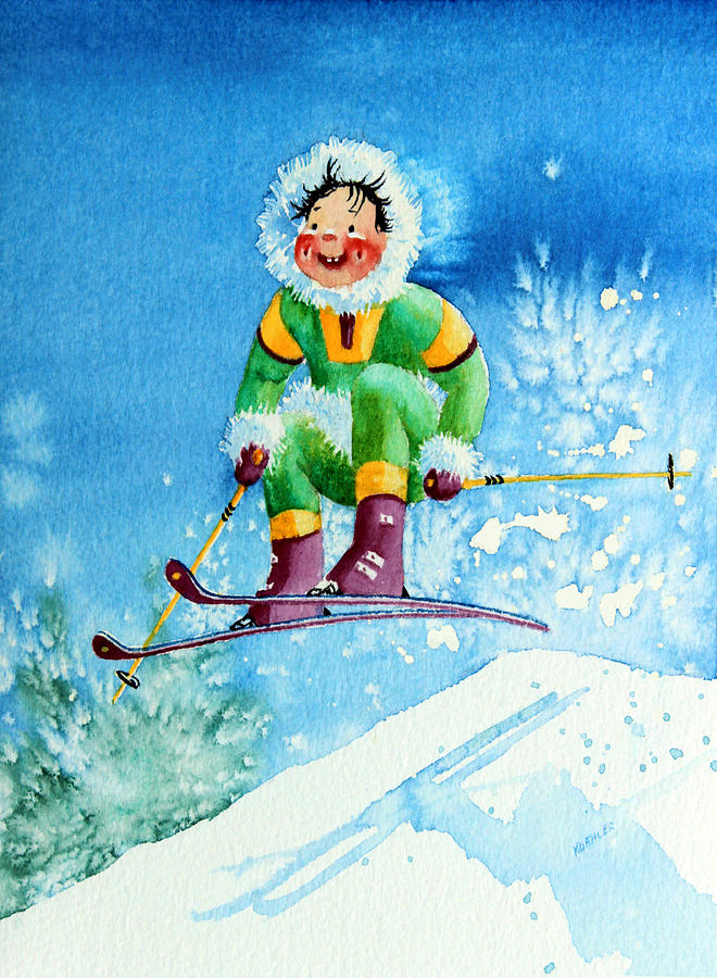 Picture Book Illustrator Painting - The Aerial Skier - 9 by Hanne Lore Koehler