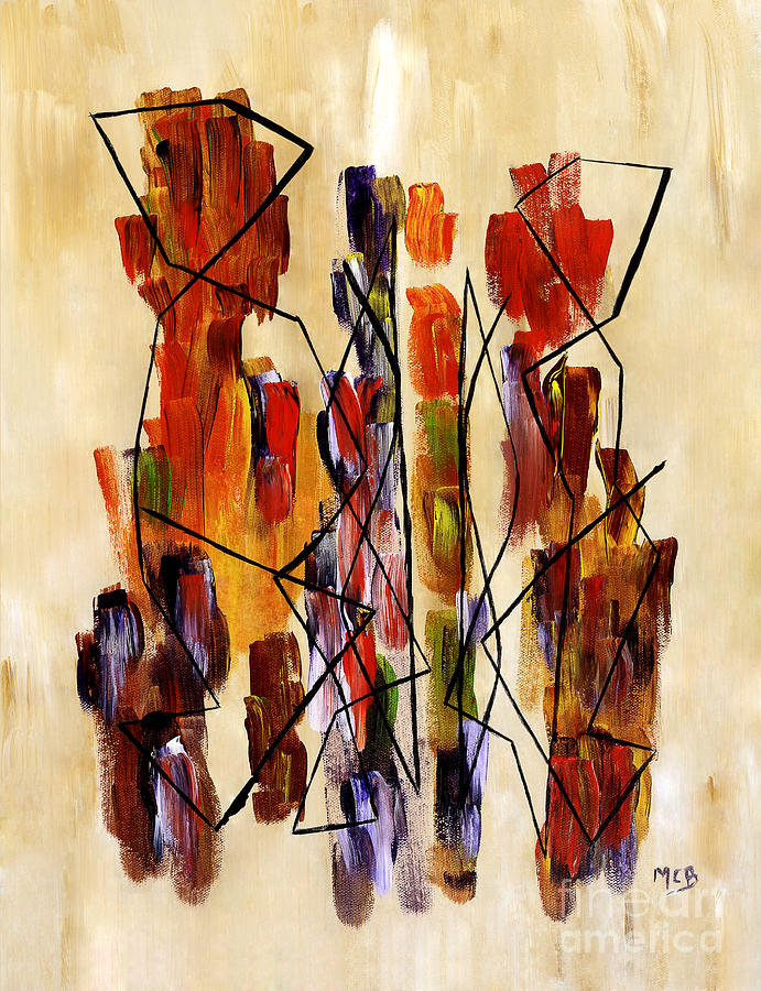 Ethnic Couple Painting - Figurative Abstract African Couple Reproduction On Gallery Wrapped Canvas  by Marie Christine Belkadi