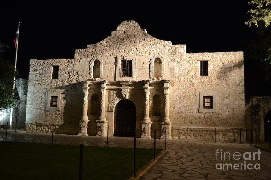 Alamo Photograph - The Alamo At Night by Stacey Rapp