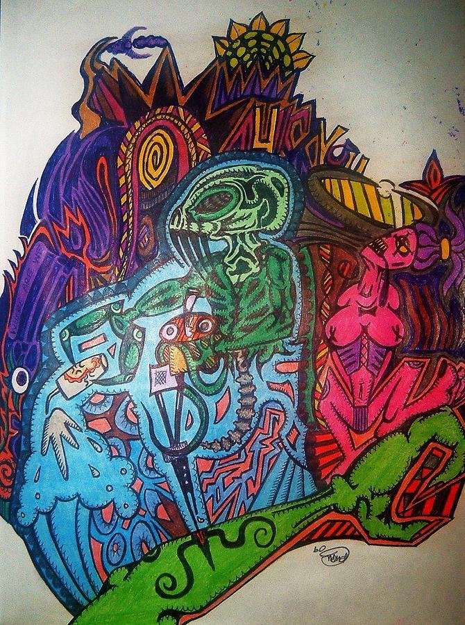 The Alien Post Man Drawing by Ragdoll Washburn