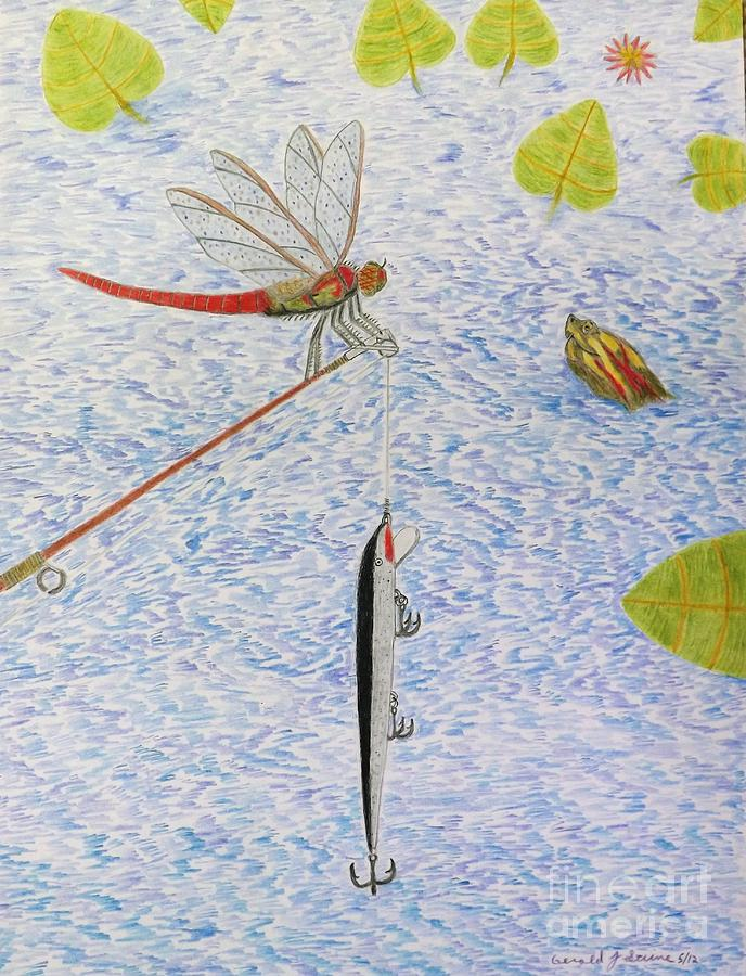 Fishing Drawing - The Allure Of The Rod by Gerald Strine