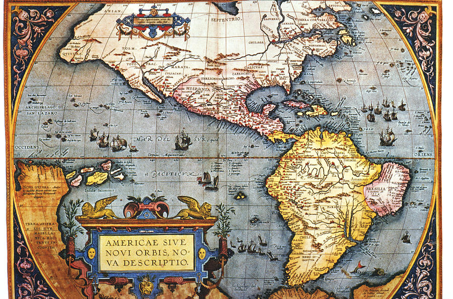 Horizontal Digital Art - The Americas, 1587 Map By Abraham Ortelius by Fototeca Storica Nazionale
