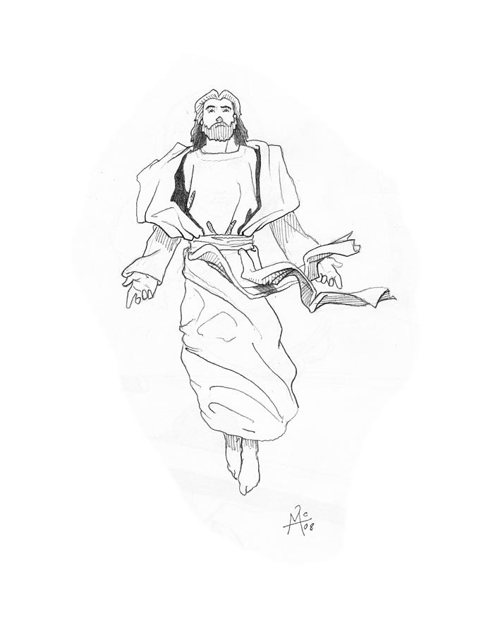 Religious Drawing - The Ascention by Miguel De Angel