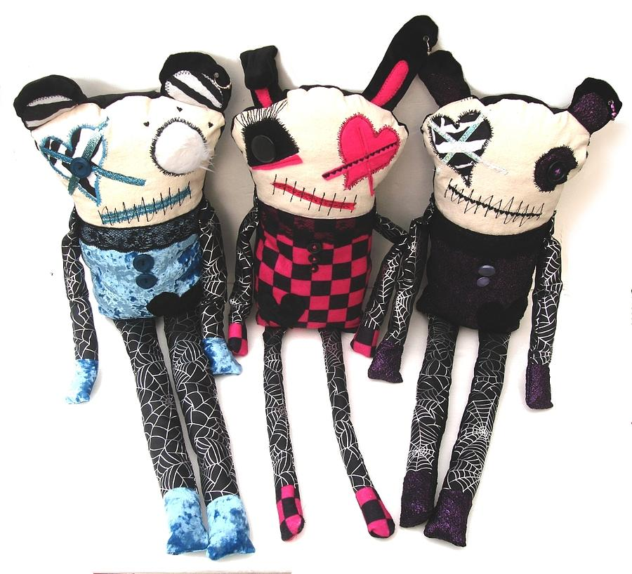 Doll Sculpture - The Ax Trio by Oddball Art Co by Lizzy Love