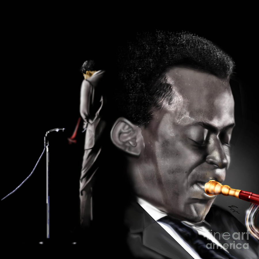 Miles Davis Painting - The Back And The Affront Of Miles Davis by Reggie Duffie