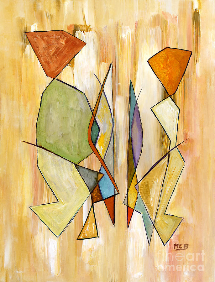 Best Abstract Painting - Modern Art Beige Orange Green Abstract Color Blocks Barcelonian Couple by Marie Christine Belkadi