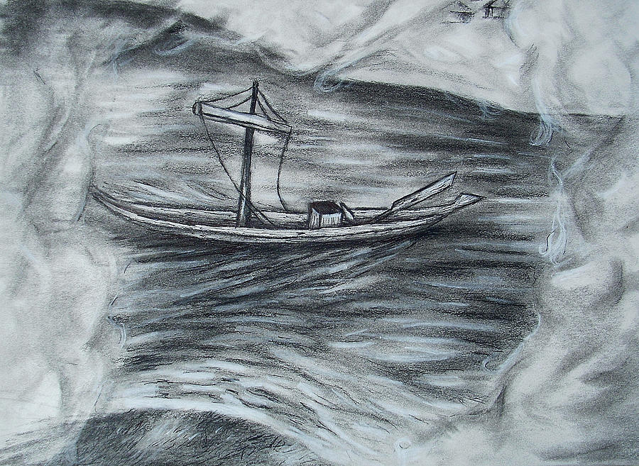Barge Drawing - The Barge by C Nick