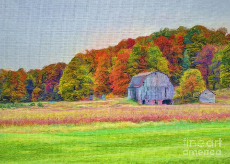 Barn Photograph - The Barn In Autumn by Michael Garyet