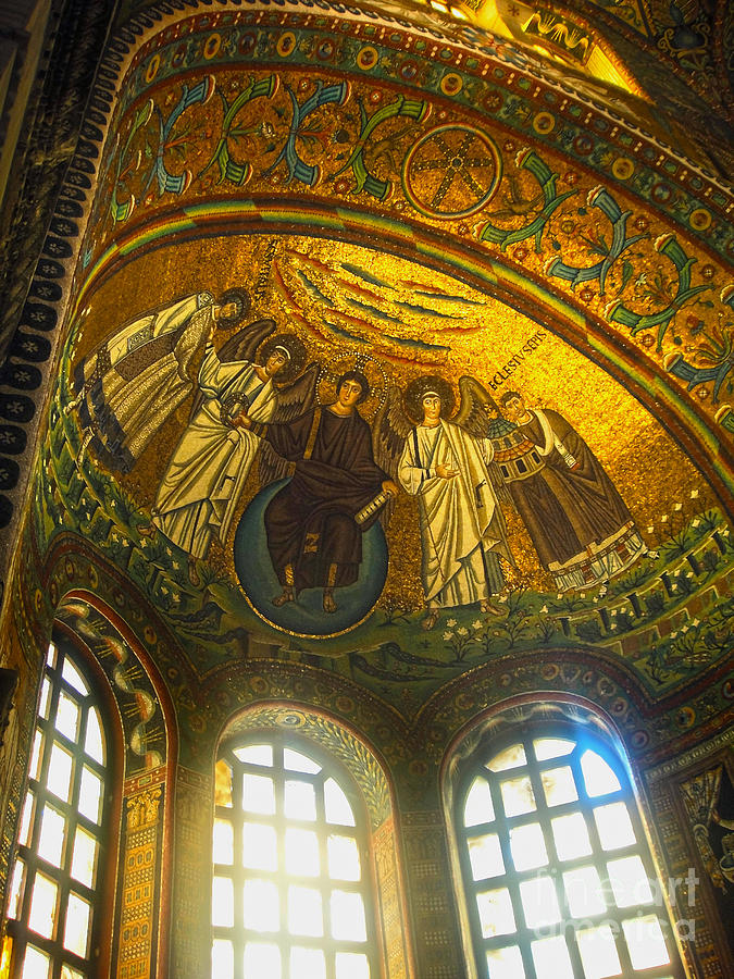 Mosiacs Painting - The Basilica Di San Vitale In Ravenna - 02 by Gregory Dyer