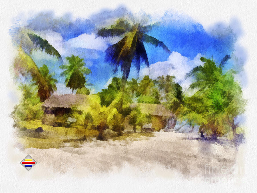 Digital Painting Painting - The Beach 01 by Vidka Art