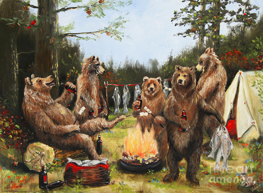 Nature Painting - The Bear Party by Stella Violano