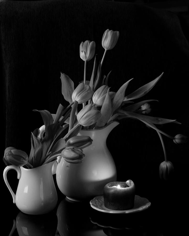 Still Life Photograph - The Beauty Of Tulips In Black And White by Sherry Hallemeier