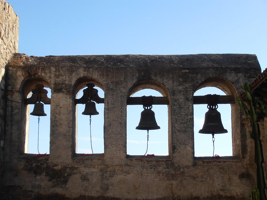 Bells Photograph - The Bells At The San Juan Capistrano Mission by Bill Cannon