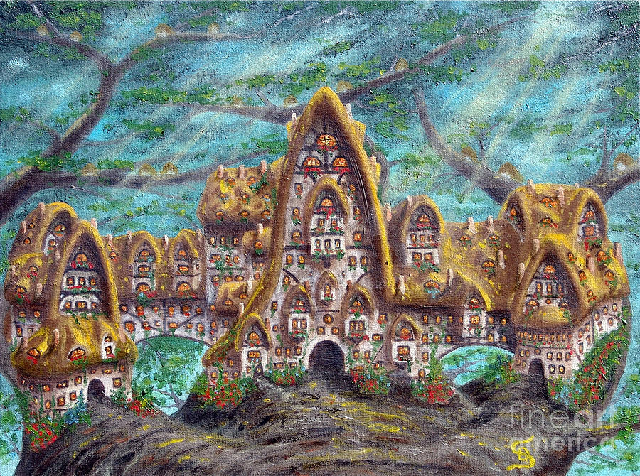 Sandru Painting - The Big Straddle House From Arboregal by Dumitru Sandru