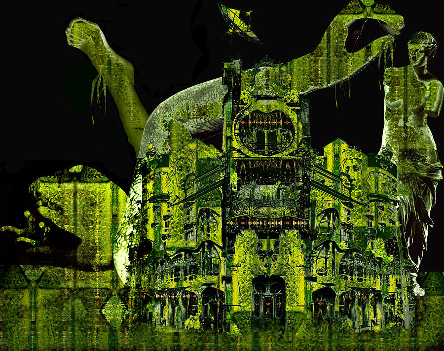 Moss Photograph - The Biomechanical Statue Garden Of Dr. Buttercup by Laura Fedora