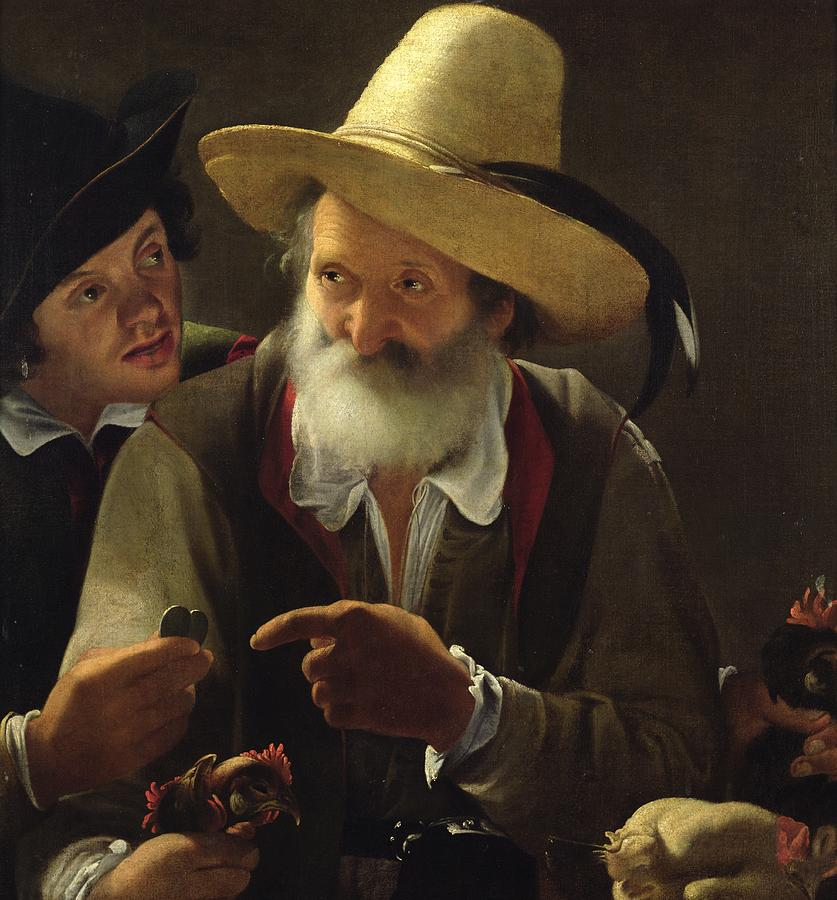Male Painting - The Bird Seller by Pensionante de Saraceni