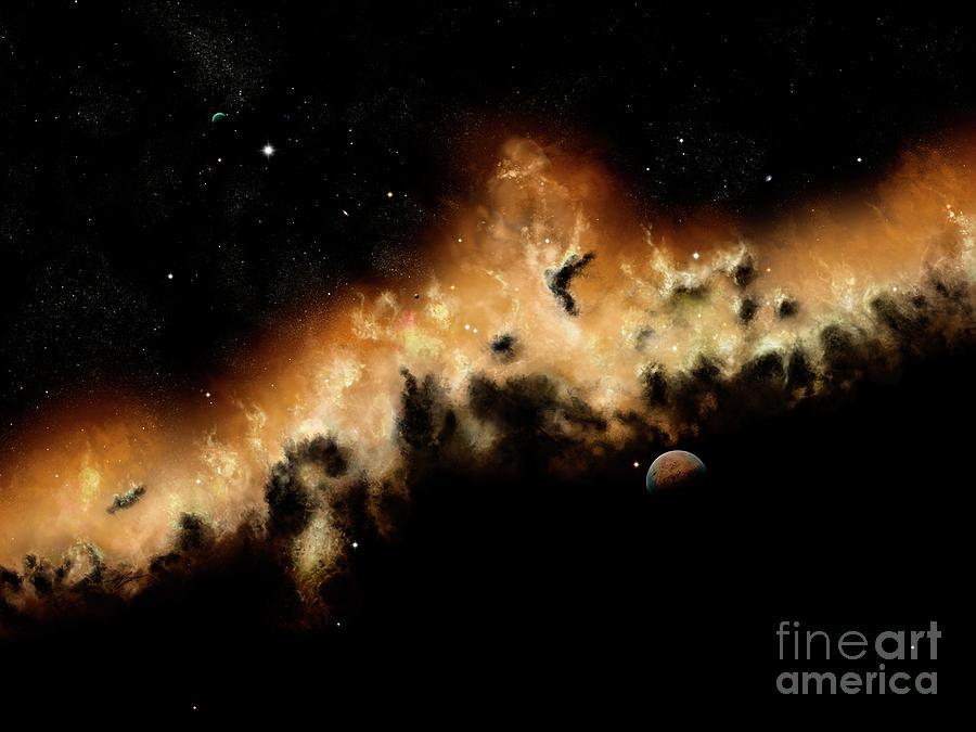 Artwork Digital Art - The Blast Wave Of A Nova Pulls Away by Brian Christensen