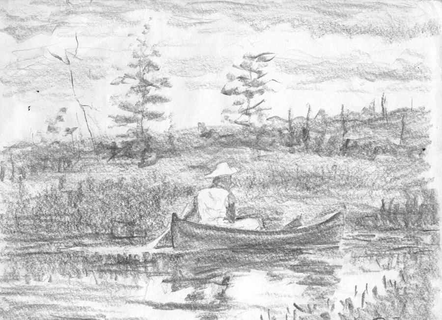 The Blue Canoe Drawing By Horacio Prada