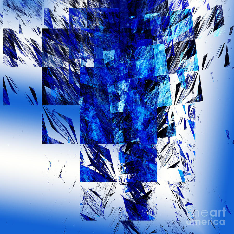 Abstract Digital Art - The Blue Chandelier by Andee Design