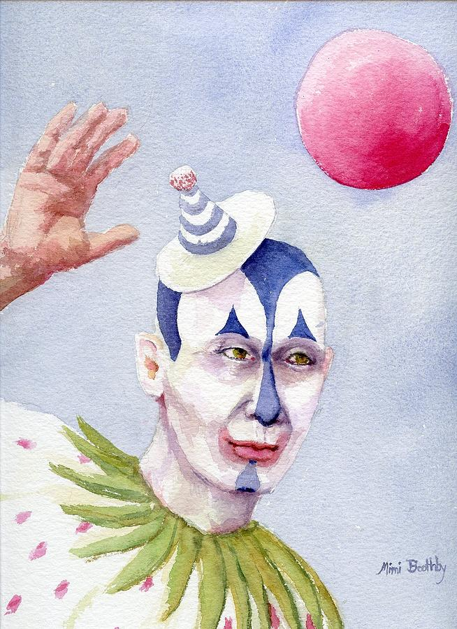 Clown Painting - The Blue Clown by Mimi Boothby