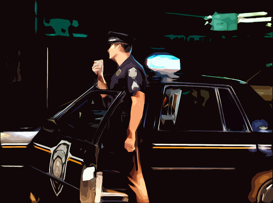 Police Photograph - The Blue Line by Robert Ponzoni