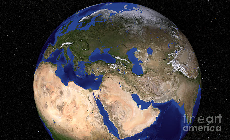 Adriatic Sea Photograph - The Blue Marble Next Generation Earth by Stocktrek Images