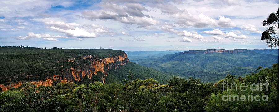 Landscape Photograph - The Blue Mountains - Panoramic View by Kaye Menner