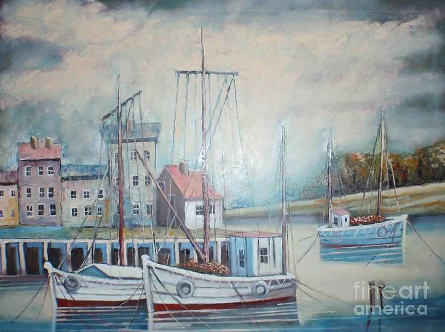 Oil On Canvas Painting - The Boats by Misko Obradovic