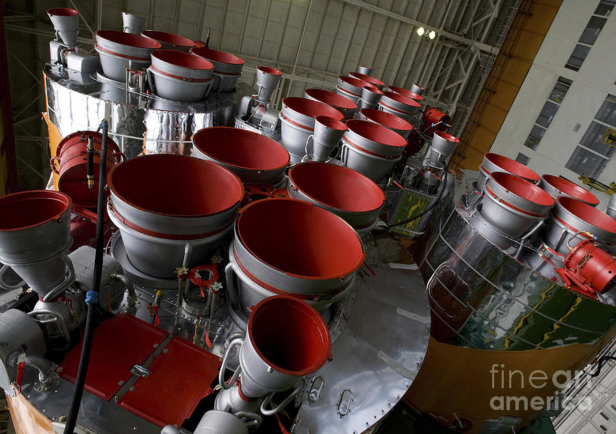 Soyuz Photograph - The Boosters Of The Soyuz Tma-14 by Stocktrek Images