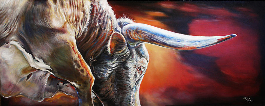 Longhorns Painting - The Boss by Rick Unger