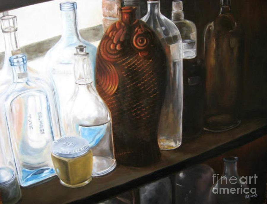 Bottles Painting - The Bottles  by Patricia Lang