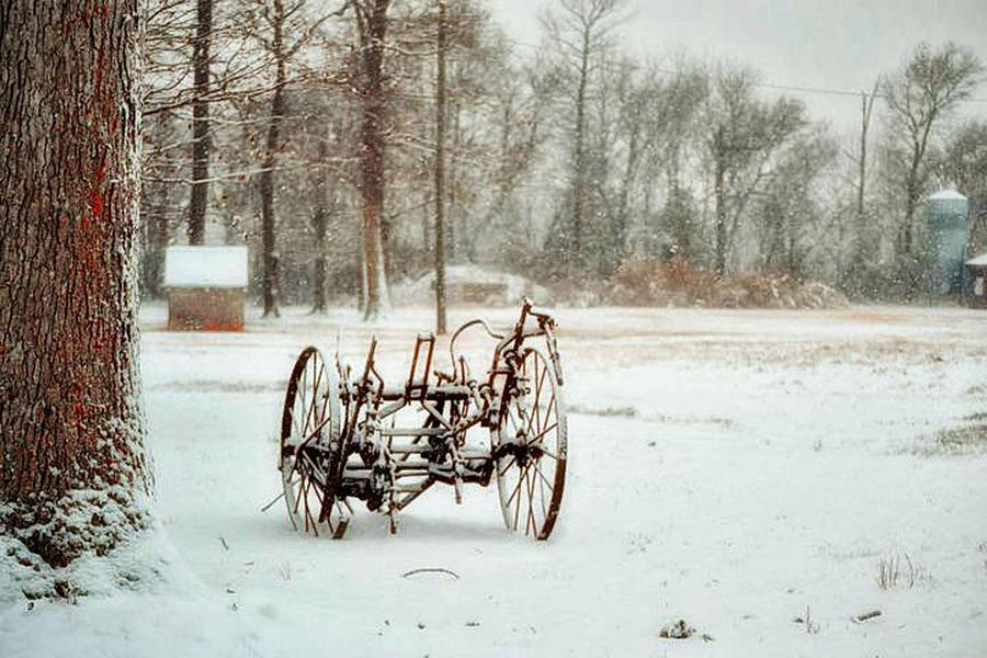 Snow Photograph - The Broken Wheel by Kelly Reber