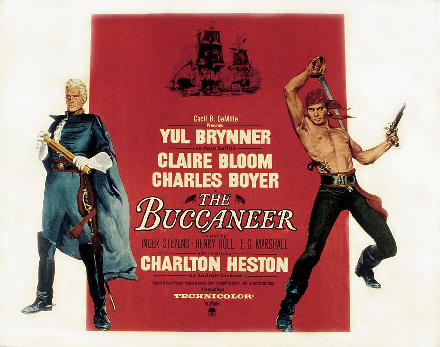 Barechested Photograph - The Buccaneer, Charlton Heston, Yul by Everett