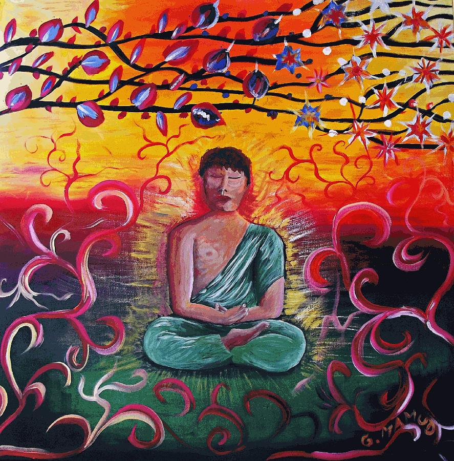 Acrylic Painting - The Buddha Intense by Mac  Mood