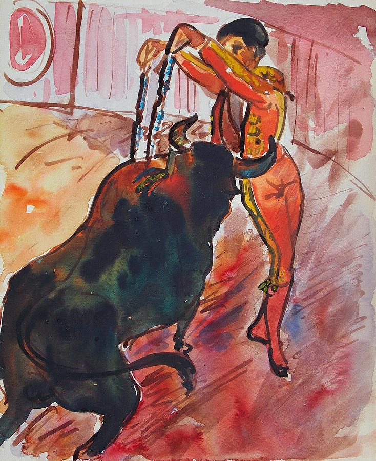 Mexico Painting - The Bull Fight by Bill Joseph  Markowski