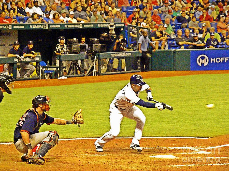 Baseball Photograph - The Bunt by Becky Wanamaker