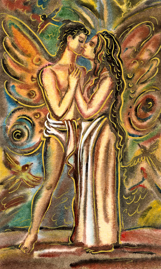 Lovers Painting - The Butterfly Kiss by Vasile Movileanu