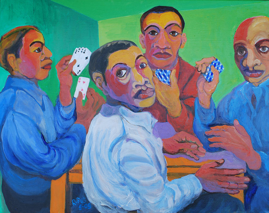 Cards Painting - The Card Players by Rufus Norman