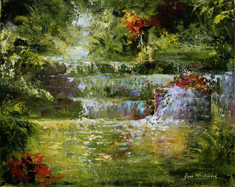 Waterfall Painting - The Cascades by Jane Woodward