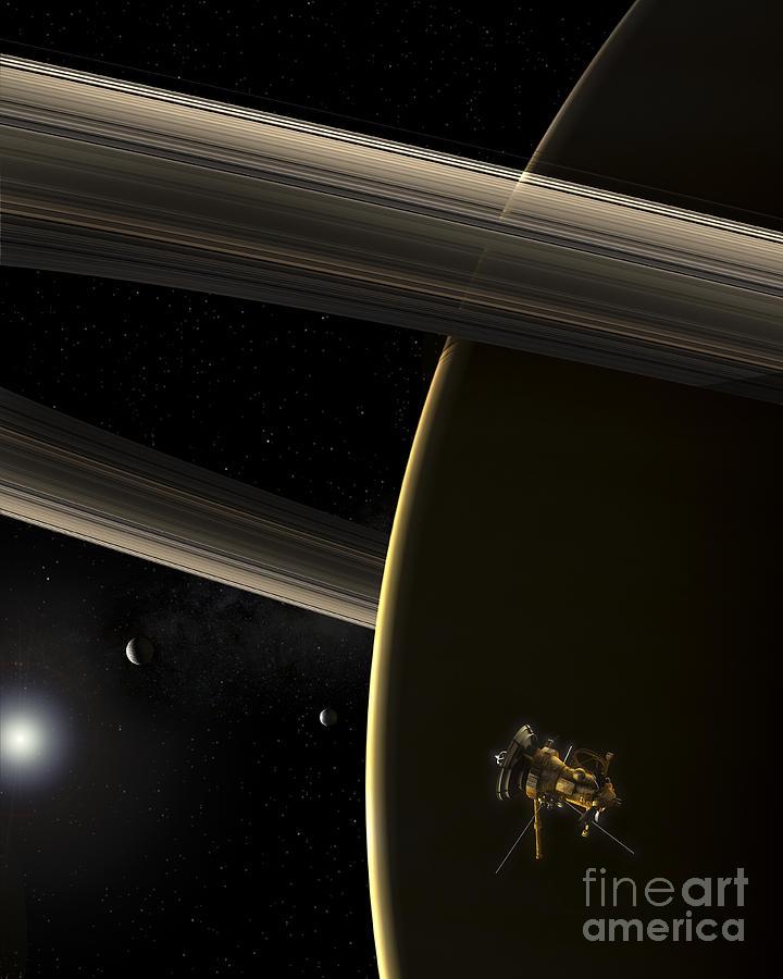 Rendition Digital Art - The Cassini Spacecraft In Orbit by Steven Hobbs