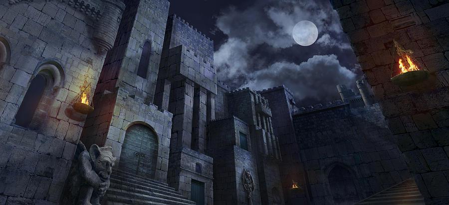 Castle Digital Art - The Castle by Virginia Palomeque