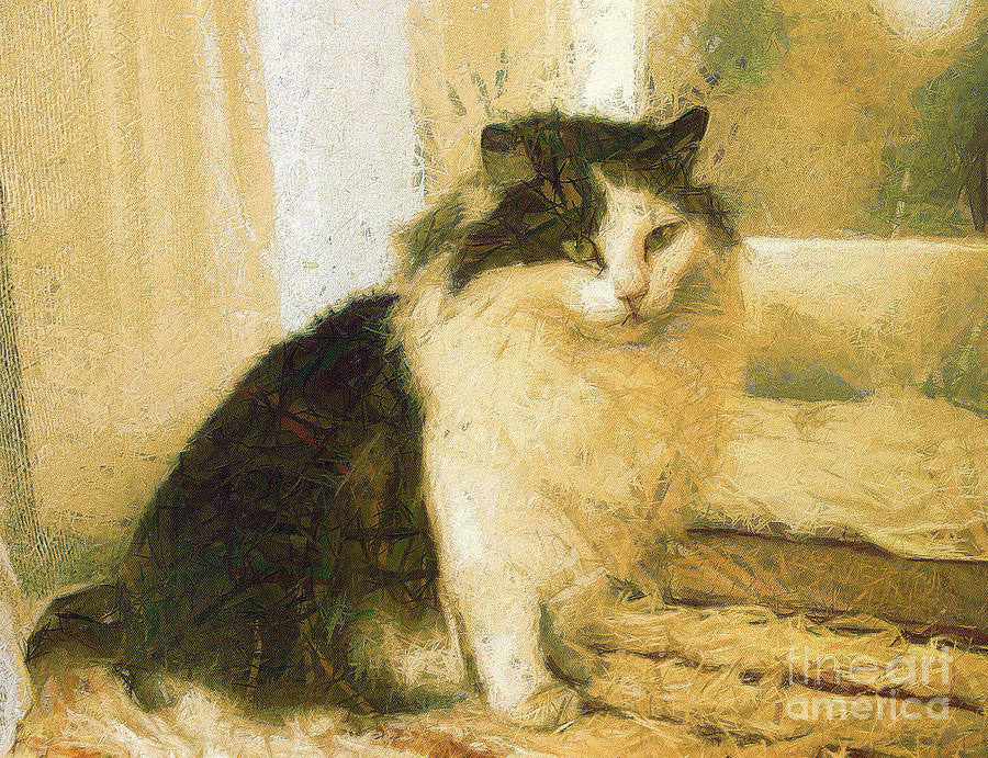 Odon Painting - The Cat by Odon Czintos