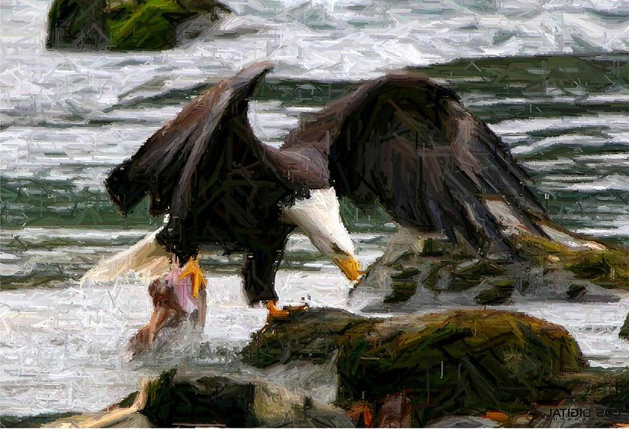 Bald Eagle Digital Art - The Catch by Carrie OBrien Sibley