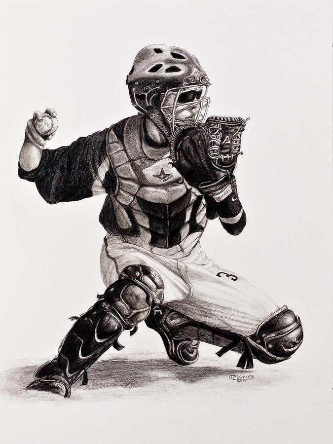 Portrait Drawing - The Catcher by Jim Ziemer