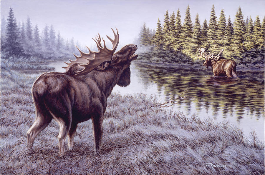 Bull Painting - The Challenge by Richard De Wolfe